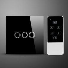 illucio Glass 3 Gang Remote onoff & Touch Control Light Switch Black